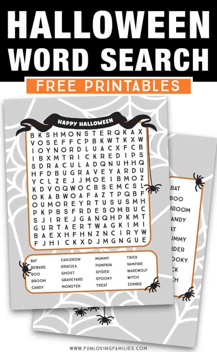 Halloween word search printables: We're sharing two Halloween word searches for kids so they can choose an easy word search puzzle or a more challenging word search. Free PDF download for both Halloween printable activities! #halloween #printables #kidsactivities #activitysheets #wordsearch #freeprintables #halloweenprintable #halloweenkids