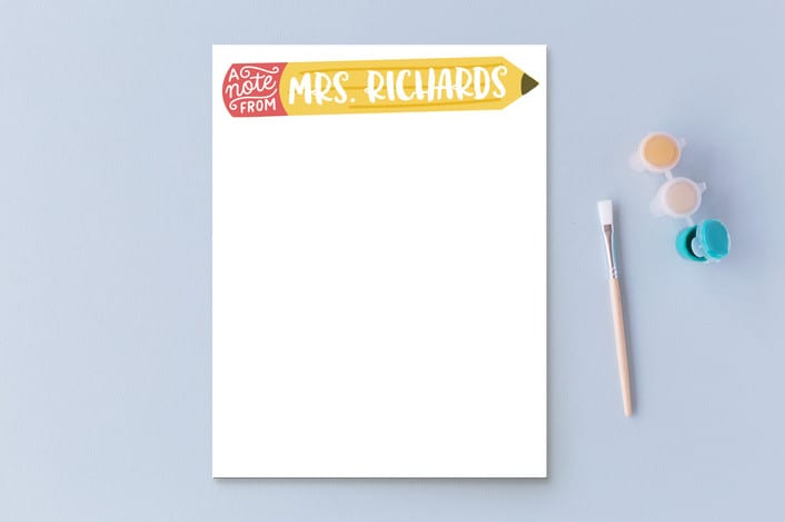 Personalized teacher stationary gift from Minted