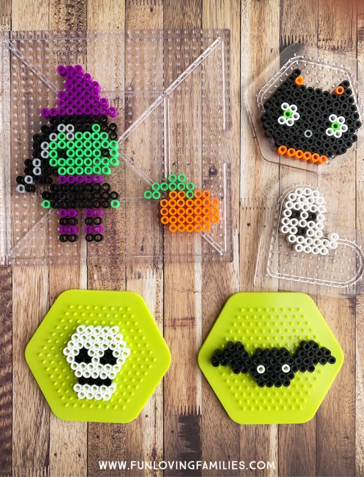 cute Halloween perler bead patterns with witch, skull, bat and more