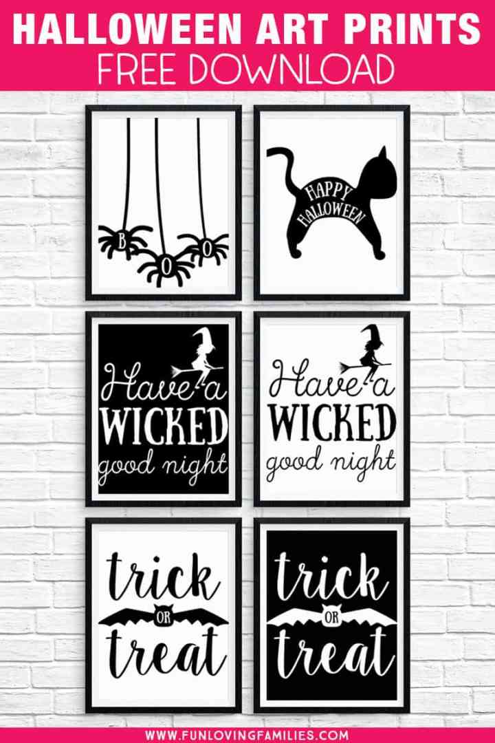 Free Halloween Printables: Download these 8X10, black and white Halloween prints for easy Halloween decorating. #halloweenprintables #printablewallart #8x10prints #blackandwhite #halloweendecor #halloweensigns #funlovingfamilies