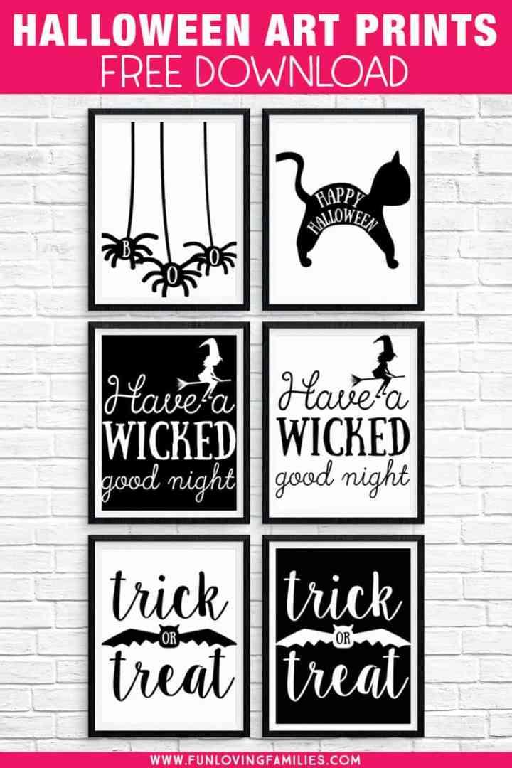 Free Halloween Printables: Download these 8X10, black and white Halloween prints for easy Halloween decorating. #halloweenprintables #printablewallart #8x10prints #blackandwhite #halloweendecor #halloweensigns #funlovingfamilies