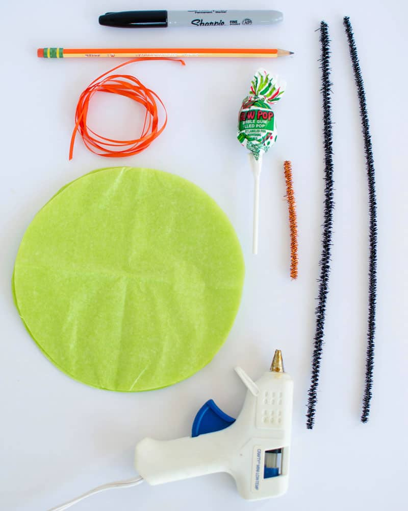 Everything you need to make lollipop witch for Halloween