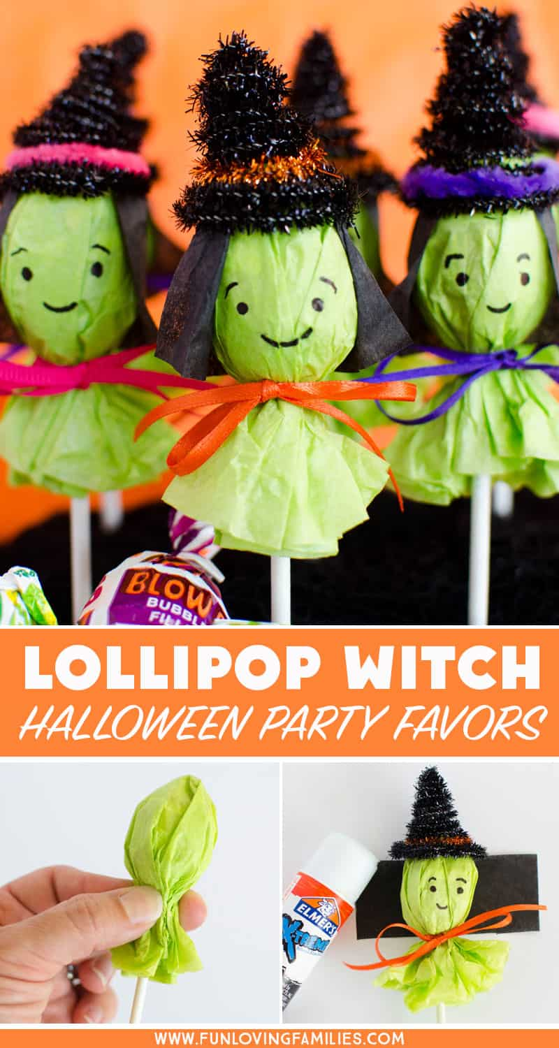 These lollipop witches make the cutest Halloween party favors. Make a bunch to bring to the Halloween classroom party, or add them to your boo basket ideas! #halloweenfavors #halloweenparty #DIYhalloween #halloweenclassroomparty #halloweenkidstreat #boobasketideas #funlovingfamilies