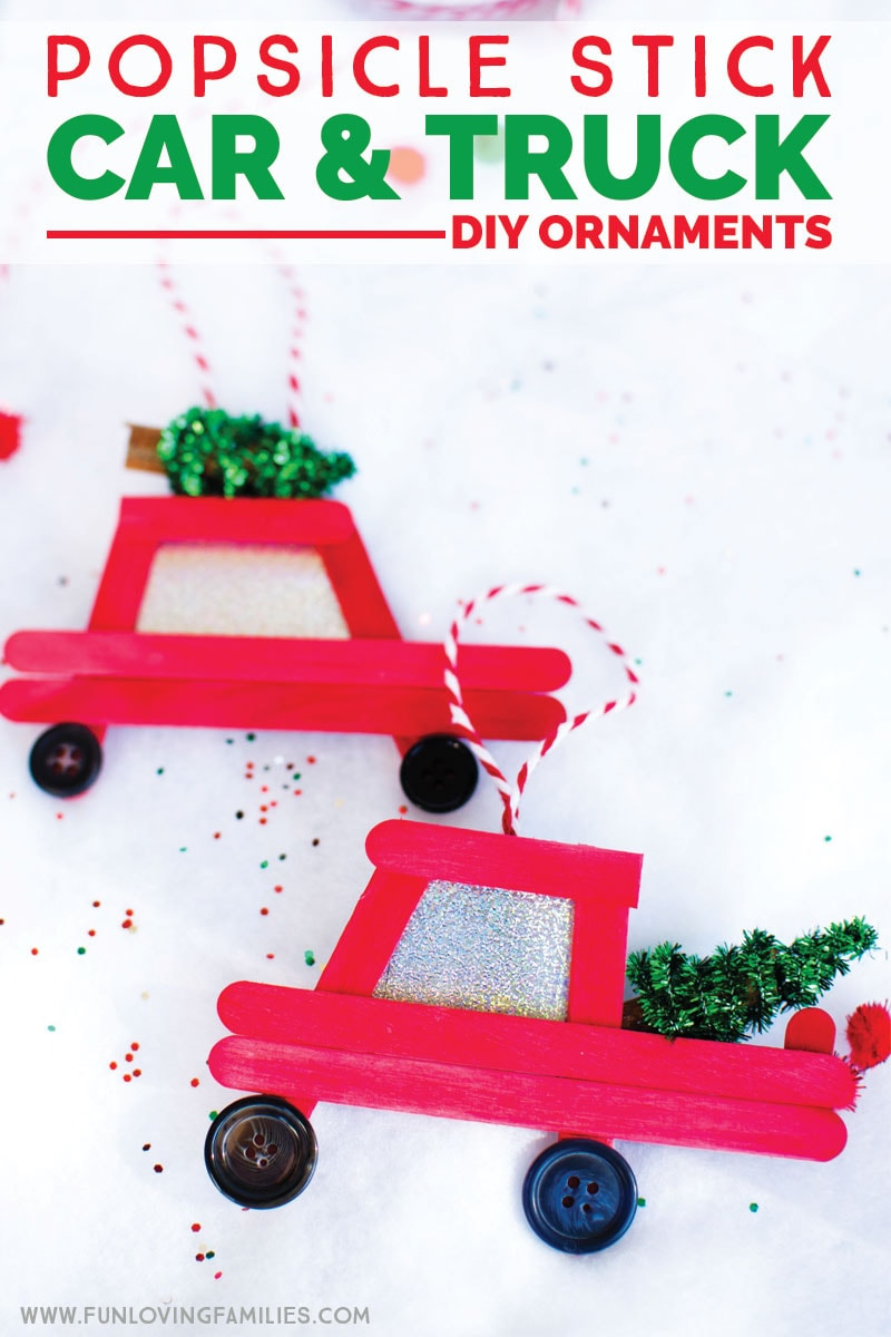 Easy DIY popsicle stick Christmas ornaments. Make your own car with Christmas tree or truck with Christmas tree ornaments with this step-by-step tutorial.