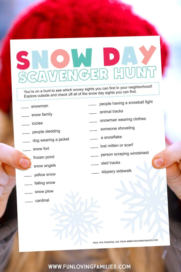 list of snow day scavenger hunt items