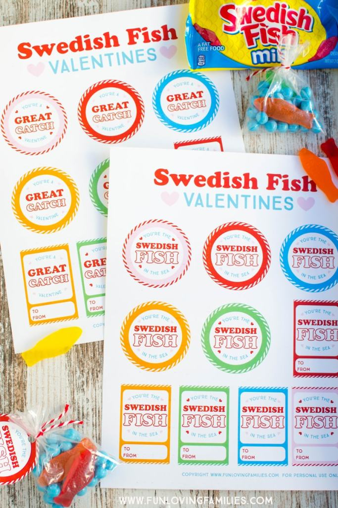 printable pdf valentines day tags with Swedish fish classroom valentines