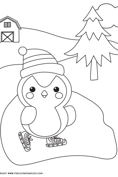 cute penguin winter coloring sheet for kids