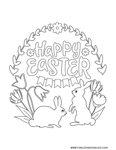 Happy Easter cute coloring page printable with bunnies