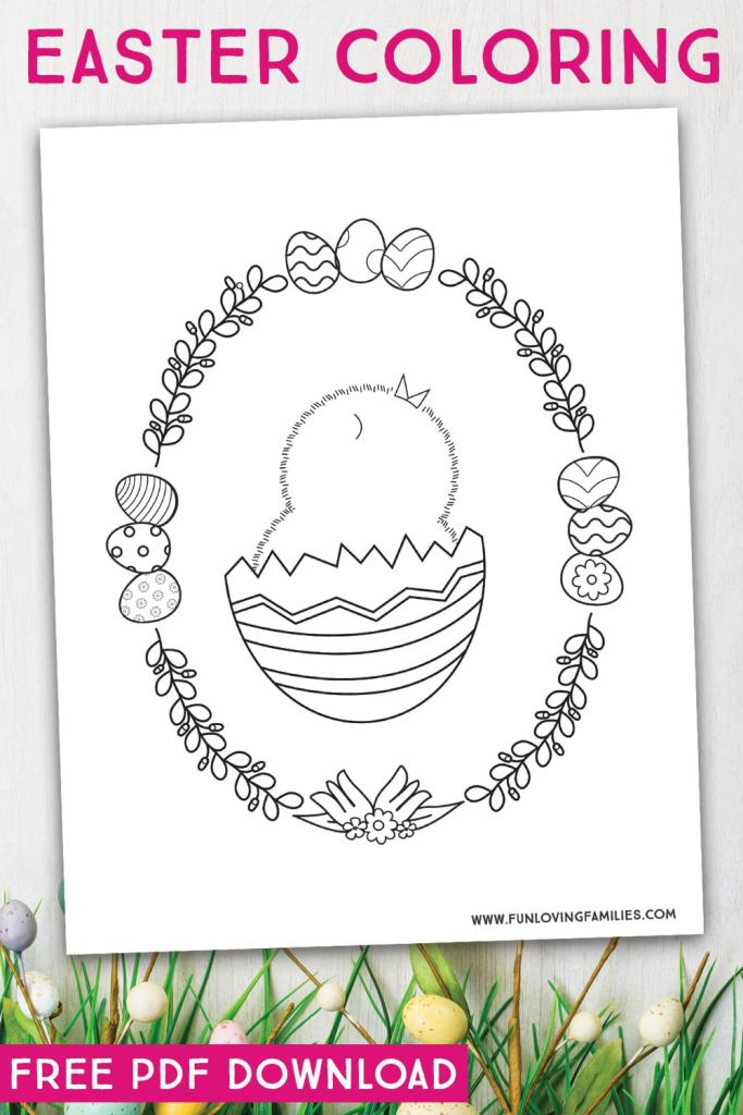 cute Easter chick coloring page for kids
