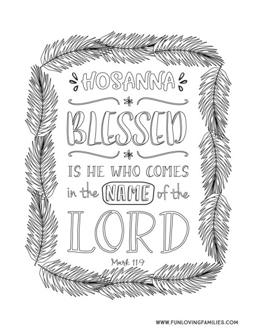 Bible verse coloring page printable for Palm Sunday, Hosanna