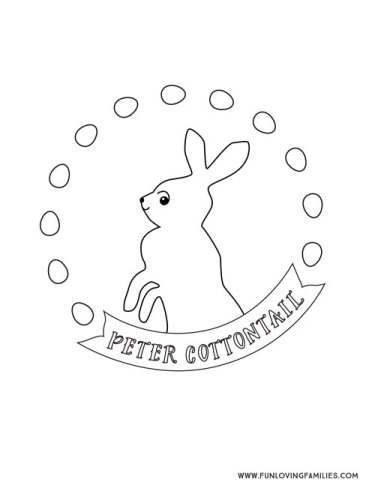 Simple Easter coloring page for kids with Peter Cottontail Bunny Rabbit