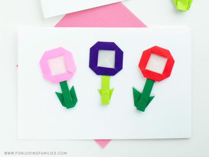 origami flower mother's day card