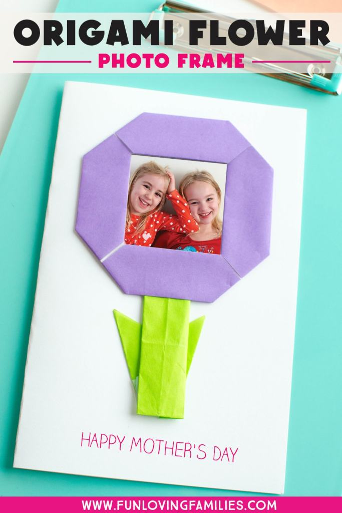homemade mothers day card with origami flower frame and kids photo