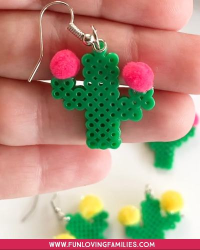 DIY cactus earrings made with Perler beads and mini pom poms