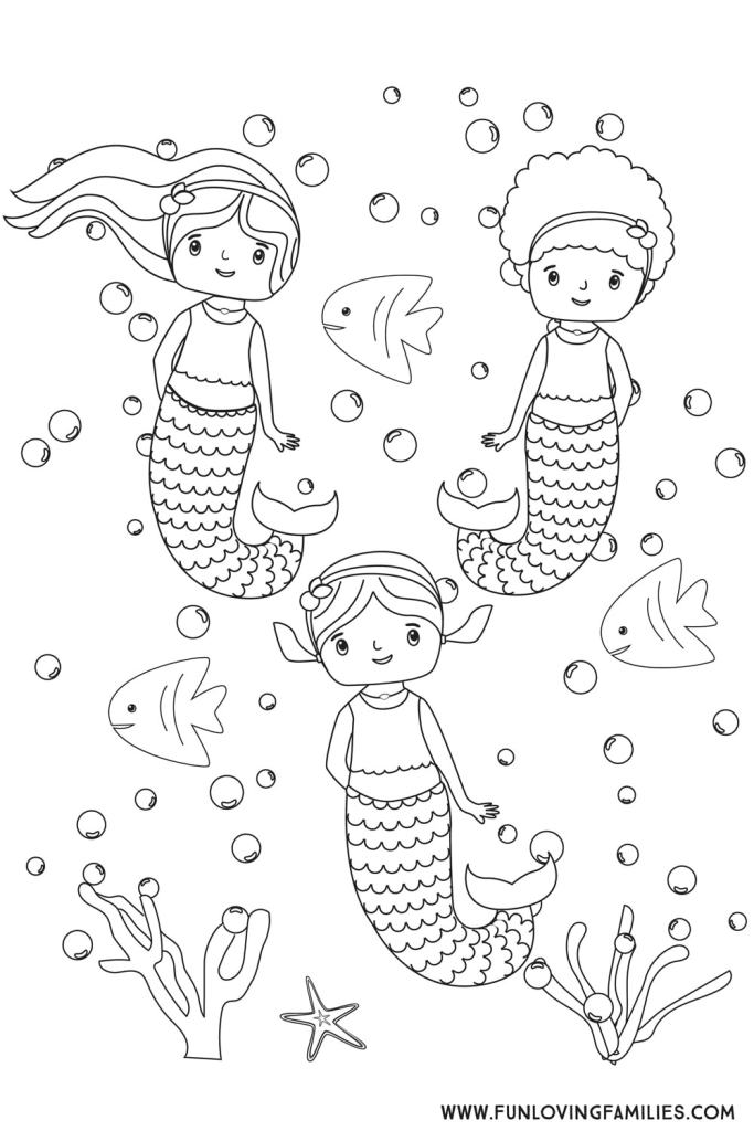 Cute Unicorn Mermaid Coloring Page Cartoon Illustration. Stock ... | 1024x683