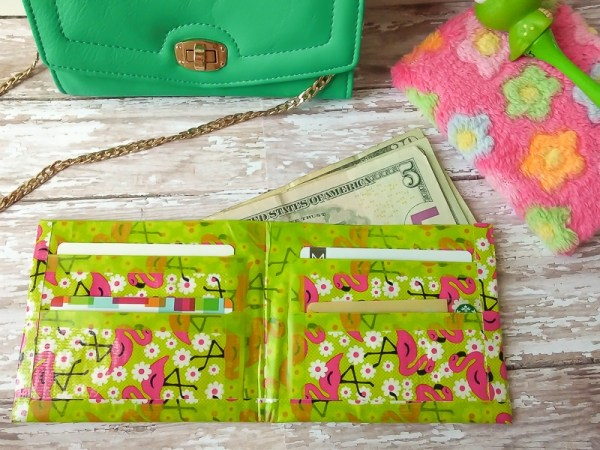 DIY Duct tape wallet tween craft idea with flamingo duct tape