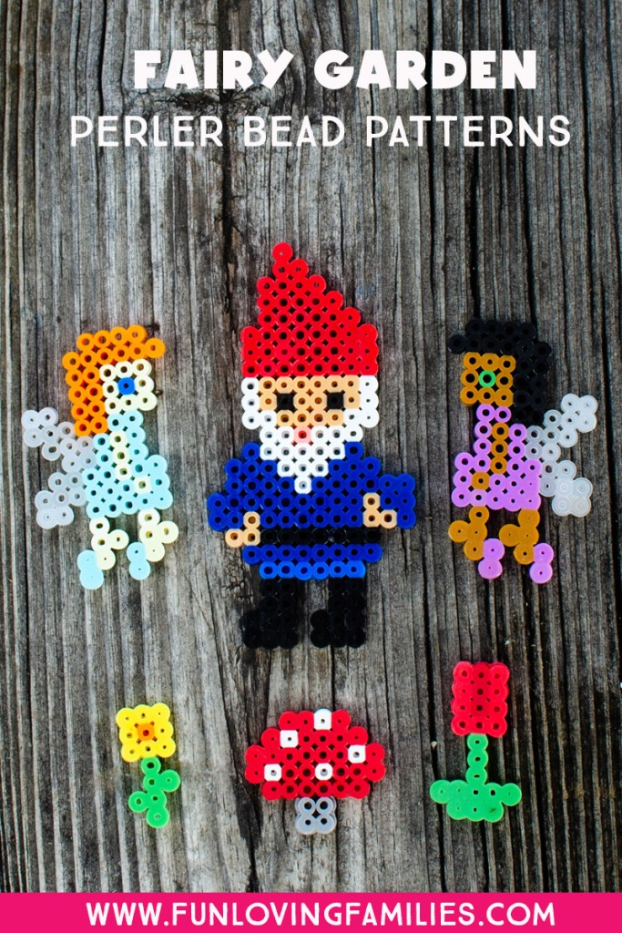 Fairies, garden gnome, flowers, and toadstool made from Perler beads