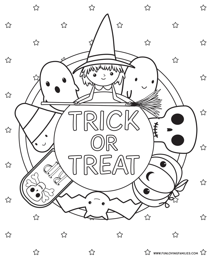 cute trick or treat coloring page for kids