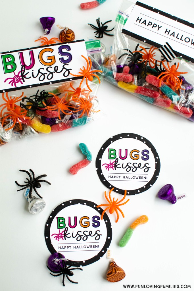 Easy Halloween party favor idea with candy bugs and kisses.