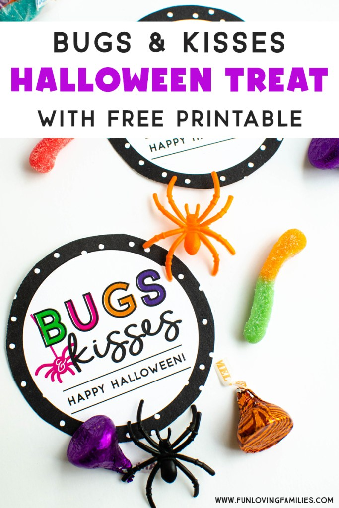 Bugs and Kisses Halloween treat free printable label
