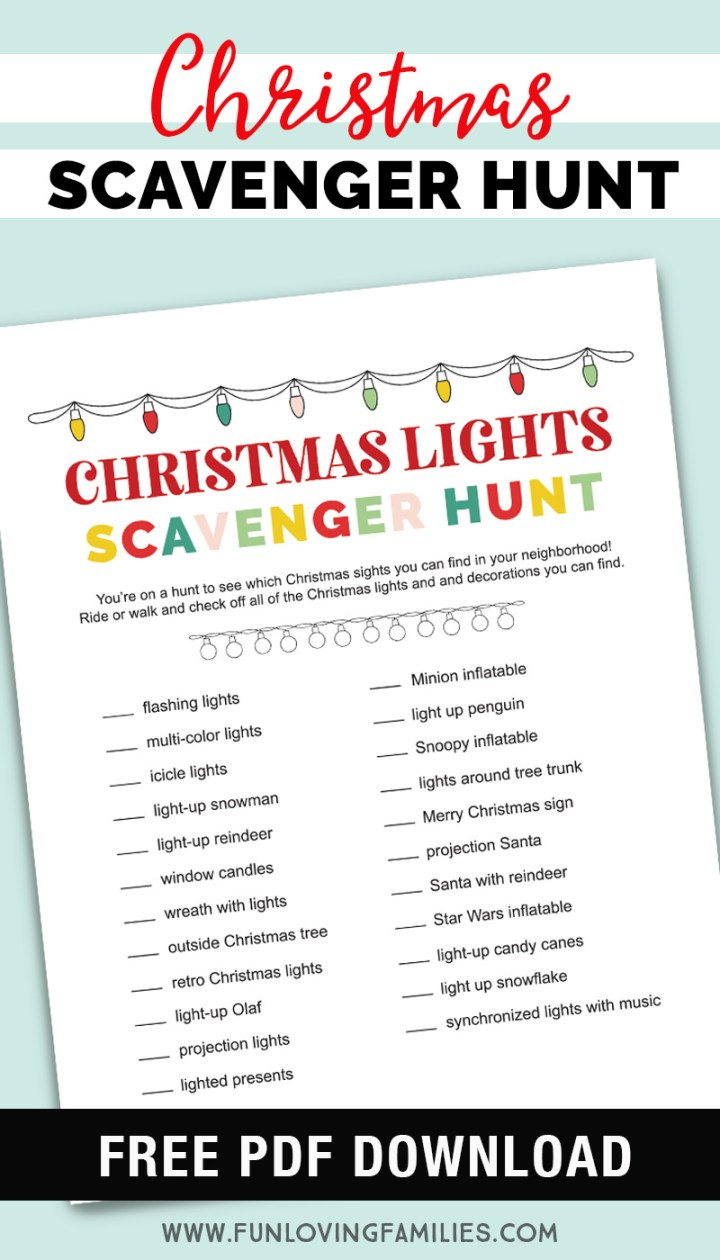 Christmas light scavenger hunt PDF