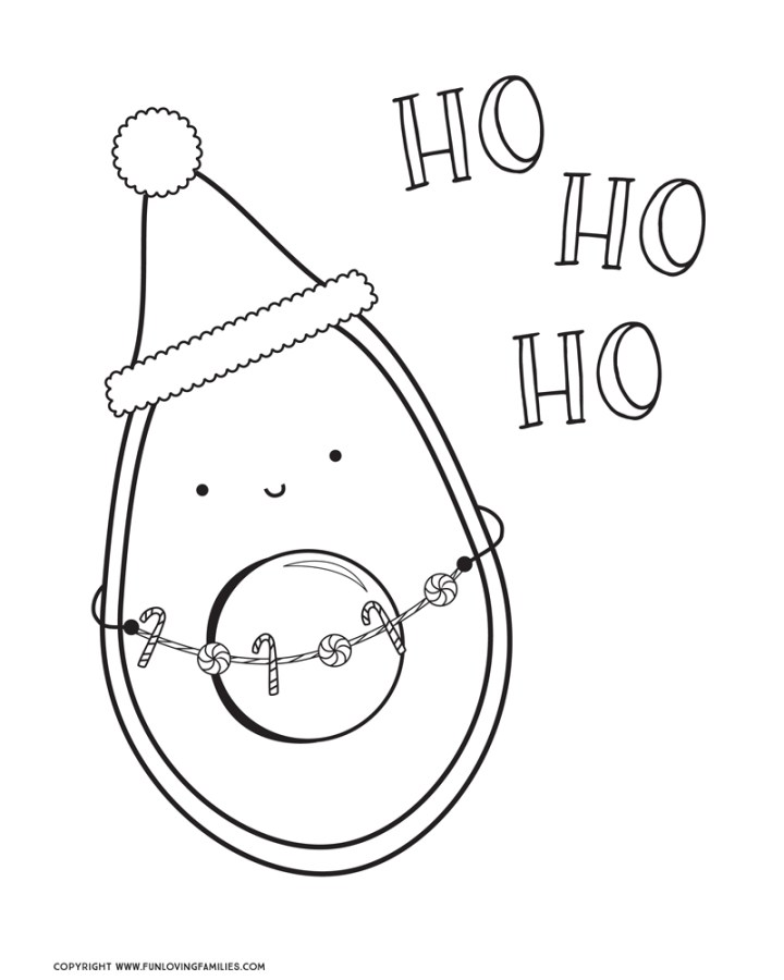 cute avocado christmas coloring sheet