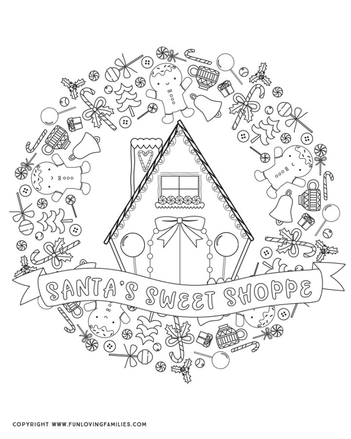 detailed cute Christmas coloring sheet for adults or kids featuring Santa's Sweet Shoppe