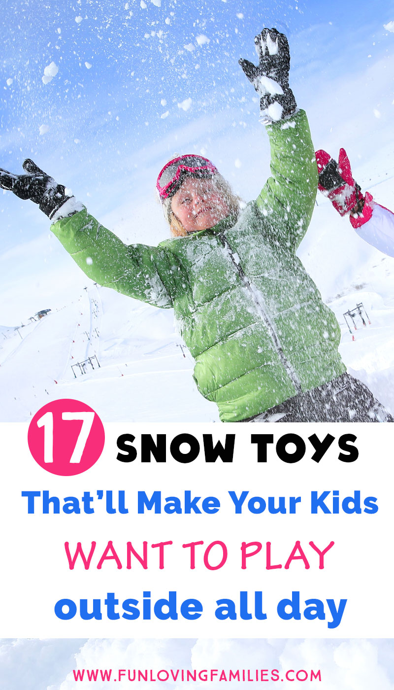 snow toys with image of boy playing in snow
