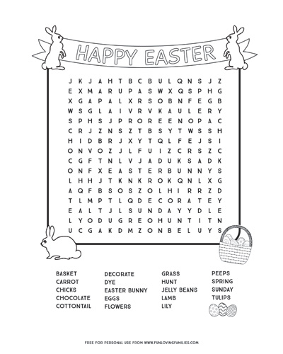 Easter word search free printable PDF