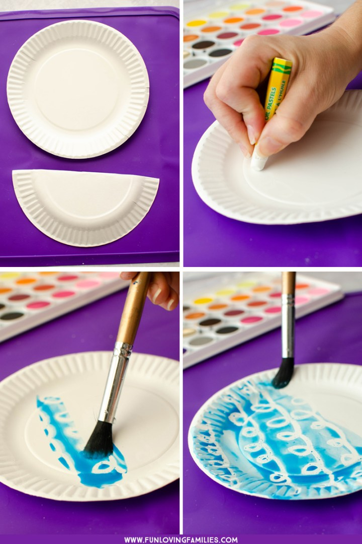 painting the paper plate bird nest sky background