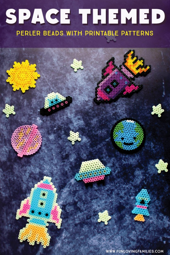 perler beads simple spaceships rockets and stars