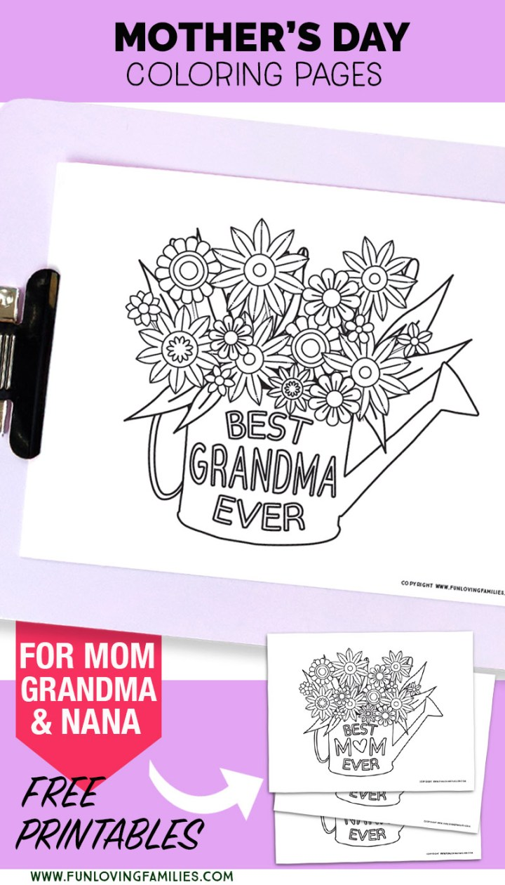PDF download printable coloring pages for Mother's Day