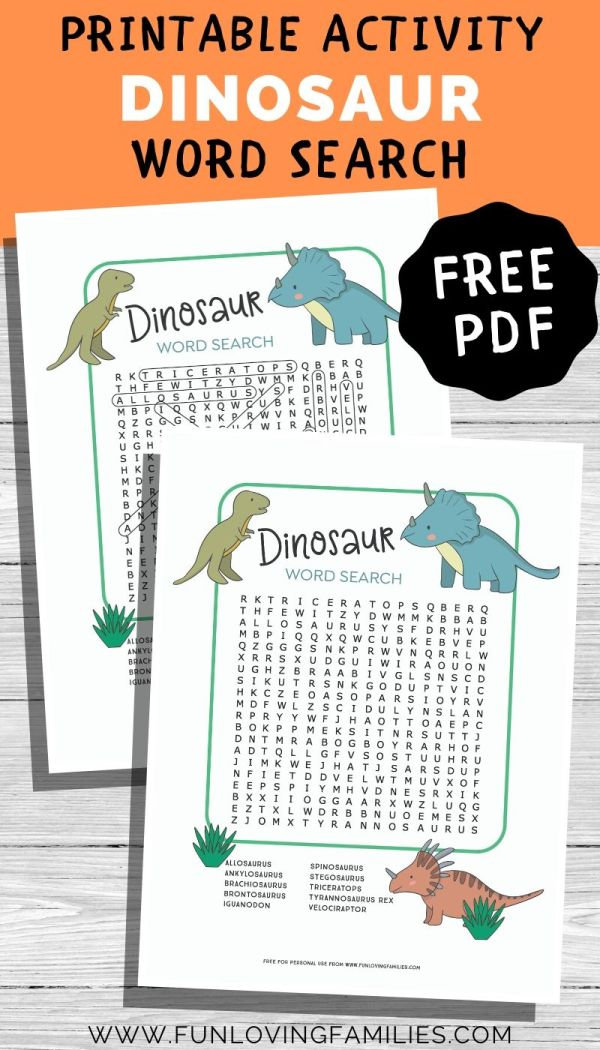 dinosaur word search with answer sheet pdf