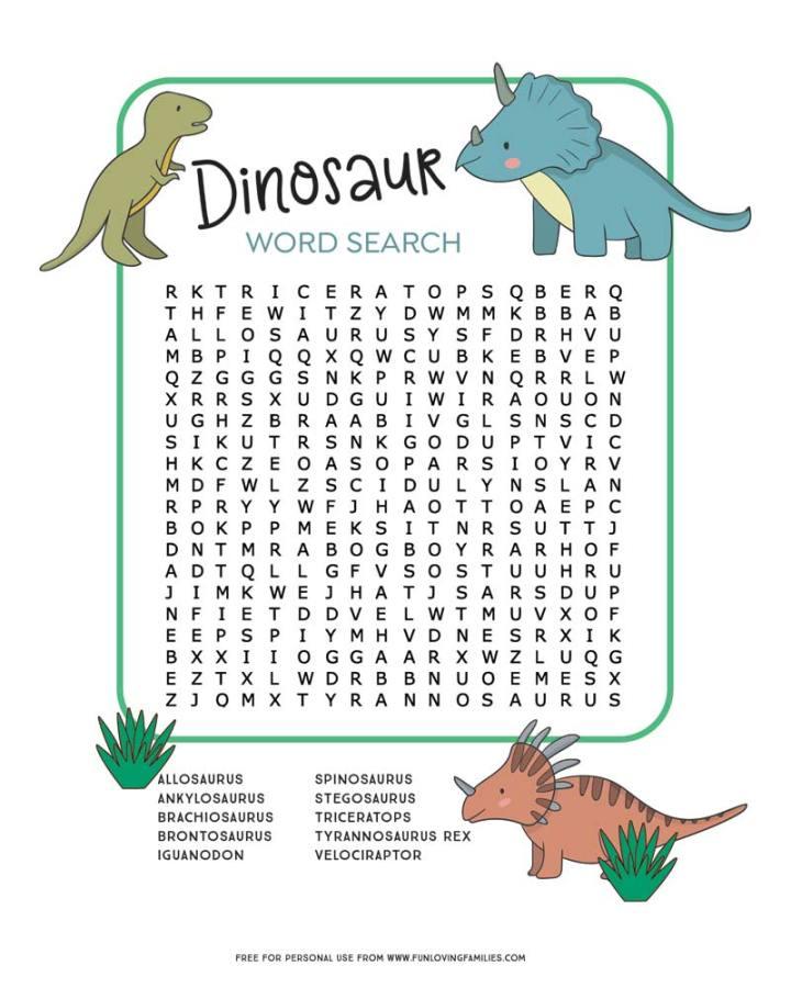dinosaur word search printable PDF