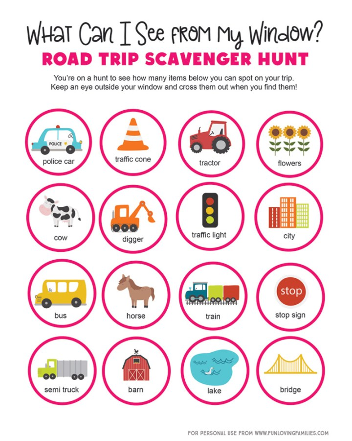 picture scavenger hunt list to print out for toddlers and preschoolers on road trip