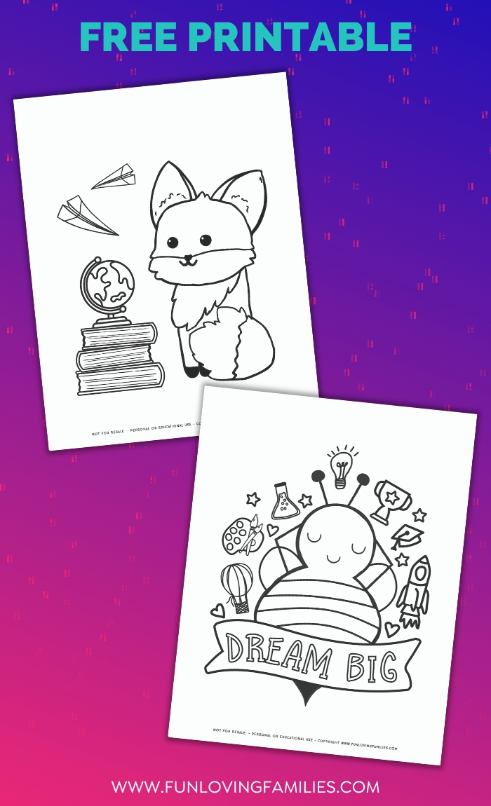 fox and dream big coloring pages for back to school
