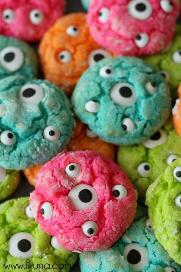 colorful cookies with eyeballs