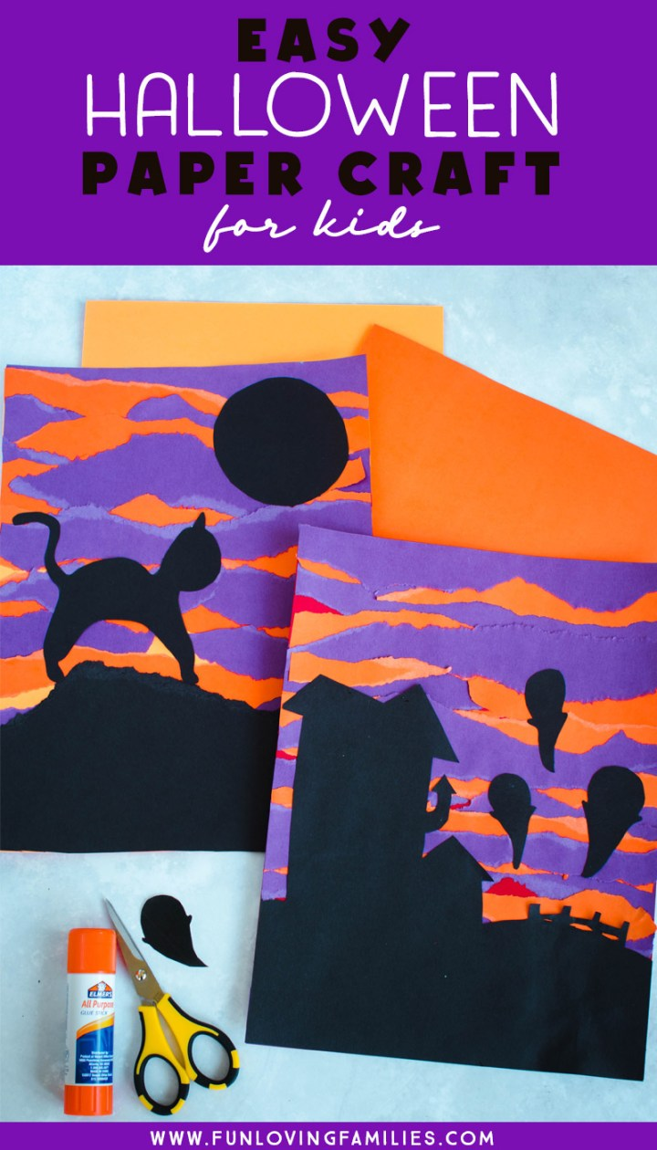 halloween torn paper art with spooky silhouettes