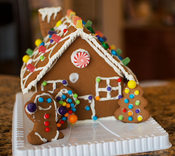 gingerbread house decorated for Christmas tradition