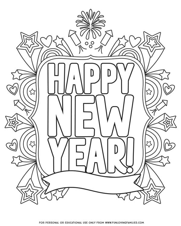 printable new year's eve coloring sheet for any year