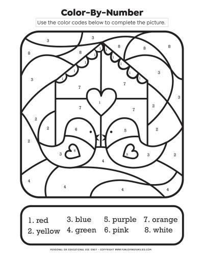 Valentine's day color by number worksheet for kids with love birds