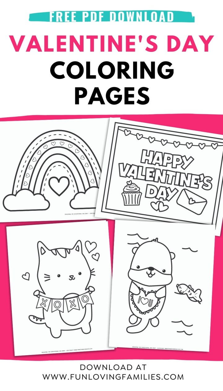 four Valentine's Day coloring pages for kids