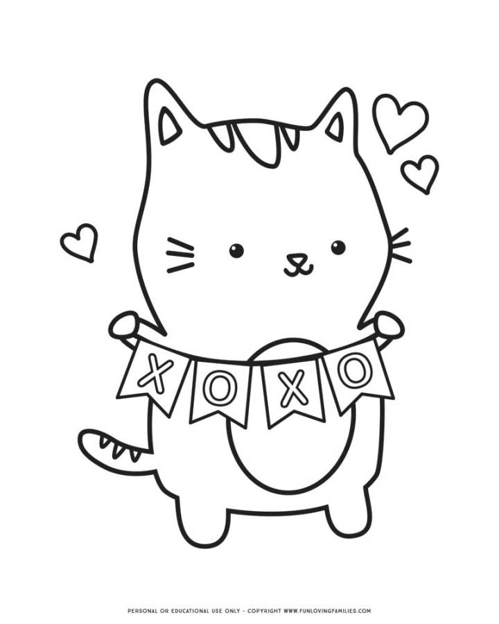 cute valentine's day coloring page with kitty and hearts