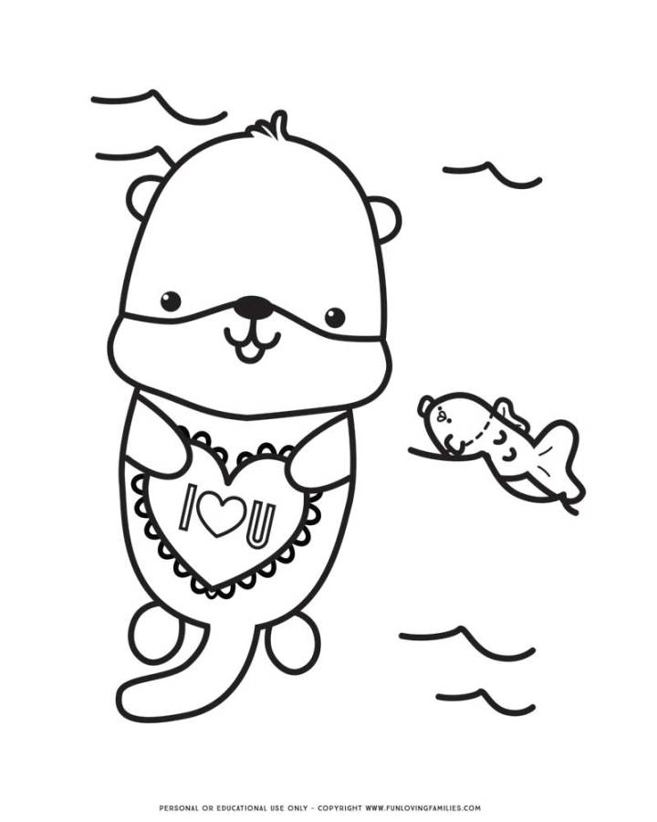 Valentine's Day coloring page with baby otter
