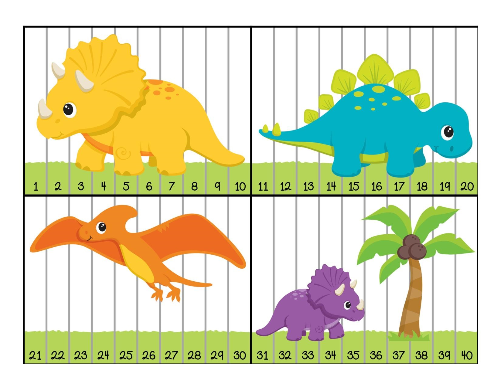 Dinosaur Numbers Puzzle Preschool And Homeschool