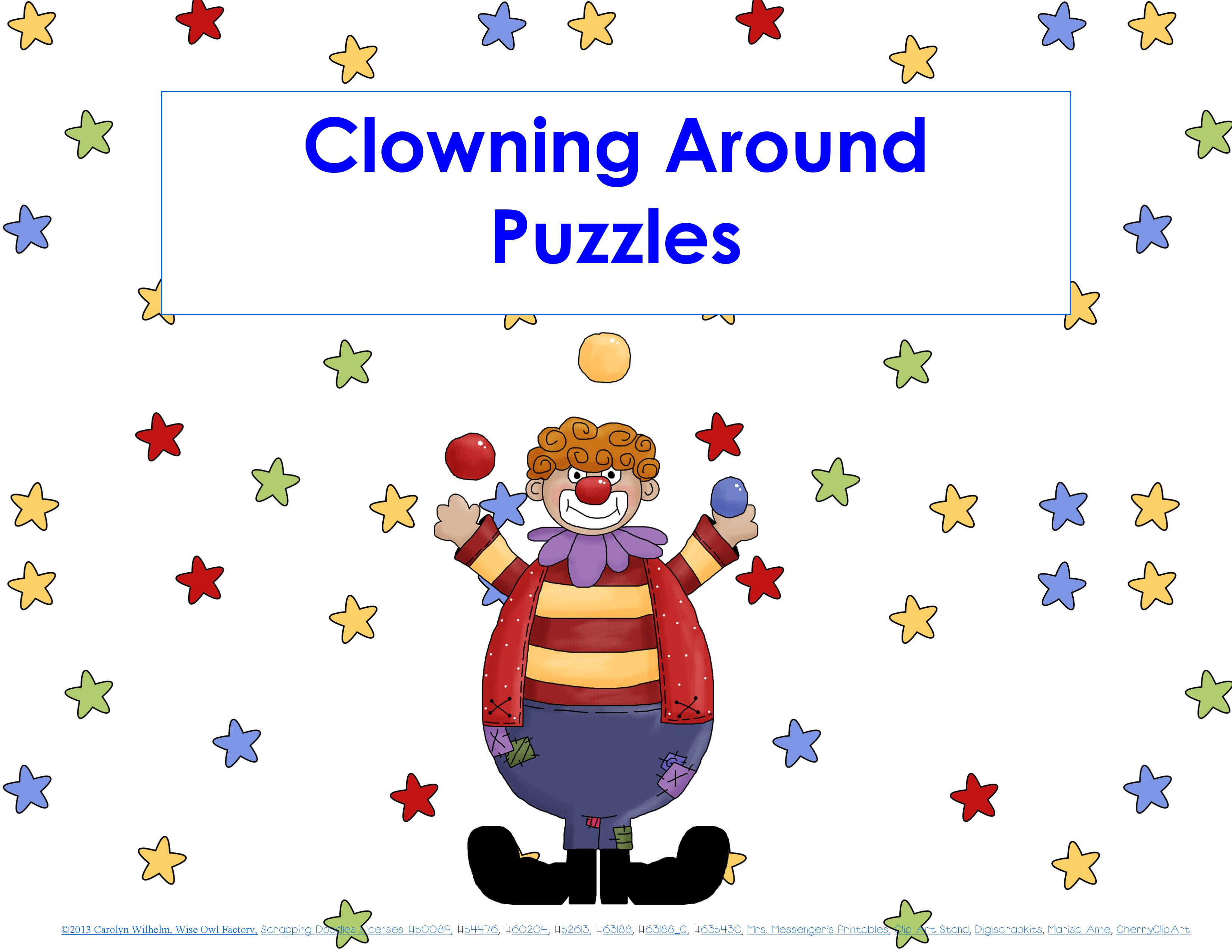 Clowning Around Puzzles For K Ds 1 Preschool And