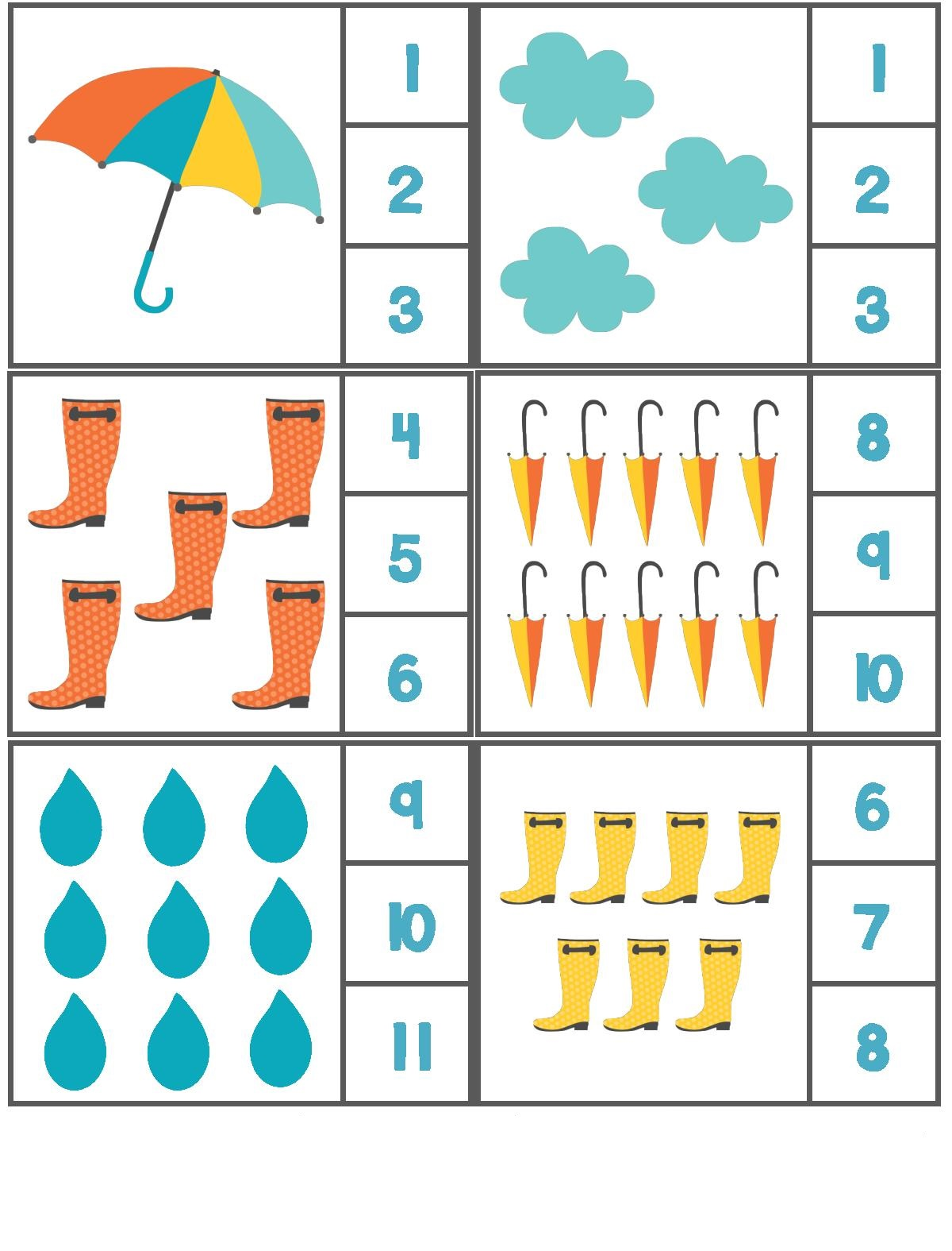 Rain Themed Counting Activity With Clothespin 3 Preschool And Homeschool