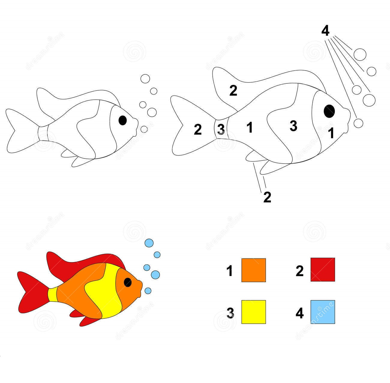 Fish Color By Number Coloring Pages 8 Preschool And Homeschool