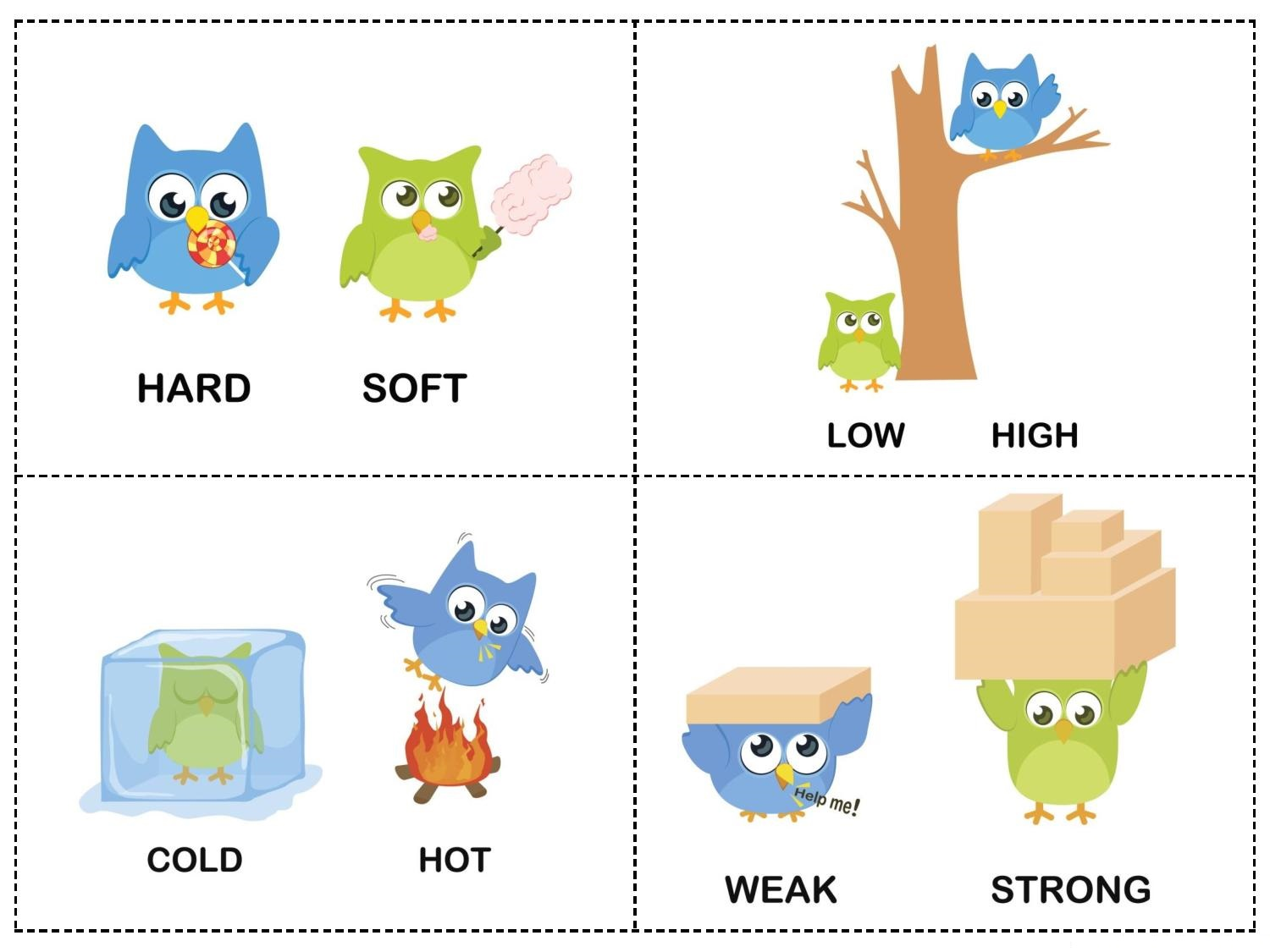 Owl Theme Opposites Cards 4 Preschool And Homeschool