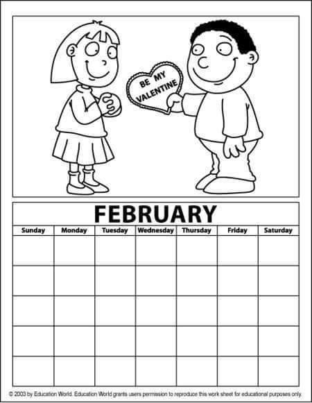 february calendar coloring page  funnycrafts